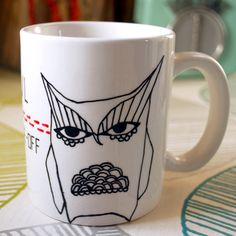 Owl StareOff Mug Hand Illustrated by InkBandit on Etsy