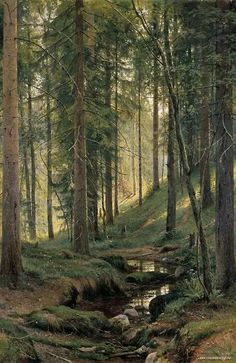 This beautiful photo reminds us that a forest filled with trees is a wondeful place to meditate. Stream by a forest slope - Ivan Shishkin - Canvas Artwork Beautiful Forest, Beautiful World, Beautiful Places, Beautiful Scenery, Beautiful Photos Of Nature, Beautiful Beautiful, Beautiful Sunset, Amazing Nature, Amazing Places
