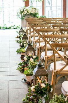 Aisle Decorated with Lanterns and Ivy | Brides.com