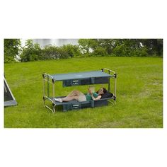 Sleep comfortably camping outdoors or at home in a guest room with the Large Disc-O-Bed. By using the stack adapters supplied, not only do the two cots bunk thereby ensuring maximum campers per tent but by simple action can be used as two single cots or converted to a sitting bench during the day. The bottom cot is 12 in. off the ground thereby allowing for much needed additional storage space under the bunk. The Disc-O-Bed is fully collapsible, requires no tools or bolts for assembly and…