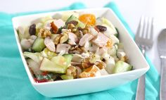Fresh endive salad with mandarin and chicken Vegetarian Recepies, Healthy Diet Recipes, Healthy Dishes, Lunch Recipes, Salad Recipes, Cooking Recipes, Healthy Food, Vegetable Recipes, Dinner