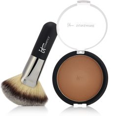 227479 - IT Cosmetics Sunshine in a Compact with Brush - QVC Price: £34.50 + P&P: £3.95 or 2 Easy Pays of £17.25 +P&P This Sunshine in a Compact Anti-Aging Matte Bronzer from It Cosmetics delivers an anti-ageing glow without settling into lines and wrinkles. Create a youthful-looking radiance while reducing the appearance of imperfections with this universal matter shade for all skin tones and types.
