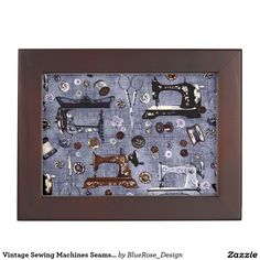 Shop Vintage Sewing Machines Seamstress Keepsake Box created by BlueRose_Design. Wooden Keepsake Box, Keepsake Boxes, Mahogany Color, Vintage Sewing Machines, Black Velvet, Vintage Shops, Colorful Backgrounds, Friends, Frame