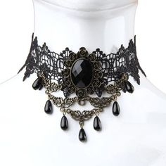Tenflyer Retro Women Gothic Black Lace Faux Gem Tassel Necklace Choker... ($2.38) ❤ liked on Polyvore featuring jewelry, necklaces, gothic choker, gemstone necklaces, black lace necklace, lace choker necklace and black tassel necklace