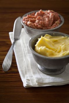 Homemade Butter and Strawberry Butter.