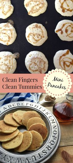 Syrup swirled in pancakes and cooked //Clean Fingers Clean Tummies Mini Pancakes Tall Pin