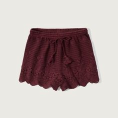 Abercrombie & Fitch Crochet Lace Soft Shorts ($30) ❤ liked on Polyvore featuring shorts, burgundy, burgundy shorts, scalloped shorts, tassel shorts, scallop hem shorts and crochet lace shorts