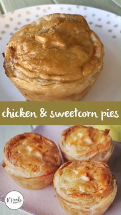 - You can't beat these delicious chicken and sweetcorn pies, you can make them individually or as one big family sized pie. Mini Pie Recipes, Cocoa Recipes, Cooking Recipes, Recipes For Lunch, Cooking Okra, Amish Recipes, Recipes Dinner, Pasta Recipes, Crockpot Recipes