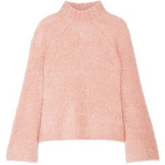 Ulla Johnson Amina wool-blend turtleneck sweater ($680) ❤ liked on Polyvore featuring tops, sweaters, pink top, pink polka dot sweater, bell sleeve sweaters, wool blend sweater and bell sleeve turtleneck sweater
