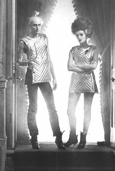 Richard O'Brien as Riff Raff, Patricia Quinn as Magenta//Behind the scenes shot. Threw me for a minute. No belts or stockings.