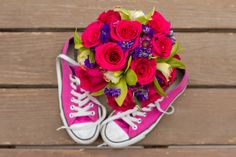 Pink converse shoes for the bride and her wedding bouquet | Genesee Park, CO | Ashley McLaughlin Photography | Storytellers Events