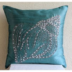 Decorative Throw Pillow Covers Accent Pillow Couch 16x16 Teal Blue Pillow Covers Embroidered Crystal Sea Shell Home Decor Bedding Housewares...
