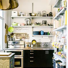 Industrial shelving in a tiny kitchen