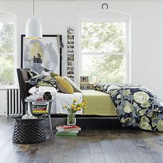 Isaac Charcoal Bed in Best Furniture | Crate and Barrel ... Color pallet, gray, mustard, blue
