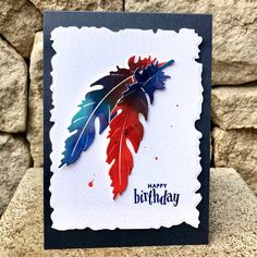 My Paper Epiphany: Complementary Colours - Blue/Orange Feather Quotes, Birthday Cards, Happy Birthday, Antique Frames, Penny Black, Watercolor Cards, Hero Arts, Blue Orange, Challenges