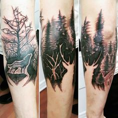 Gentleman With Forest Negative Space Deer Tattoo
