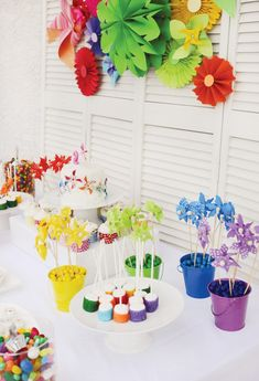 Rainbow pinwheel theme dessert table
