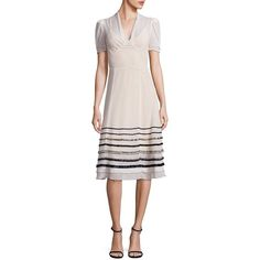 Tommy Hilfiger Collection Silk Embellished A-Line Dress ($590) ❤ liked on Polyvore featuring dresses, apparel & accessories, seedpearl, v-neck dresses, stripe dresses, silk dress, pink striped dress and striped dress