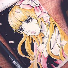 #タンポポ #dandelion  Process video available on my youtube channel, I'll put link in bio ^.^ #unipin #pen #promarkers #manga #girl #sketch on #moleskine #paper  #ペン #漫画 #アニメ #スケッチ #モレスキン #かわいい