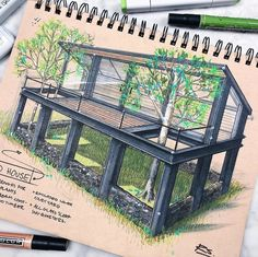 Colored Architectural Concept Drawings