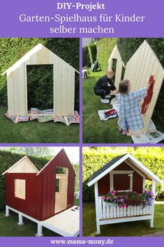 DIY-Projekt: Garten-Spielhaus für Kinder selber bauen We always wanted to have a play house for children in the garden. We looked at garden sheds in numerous stores, but somehow they didn't meet o Garden Playhouse, Garden Shed Diy, Diy Garden Projects, Home And Garden, Do It Yourself Projects, Projects For Kids, Diy For Kids, Project Steps, Bois Diy