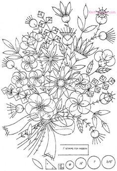 Free Embroidery Pattern: Felt Appliqué Bouquet c1930