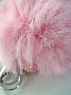 plush PINK color fur ball keychain pom pom glam fun by sassycotton on Etsy