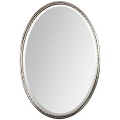 Shop Global Direct 22-in x 32-in Nickel Beveled Oval Framed French Wall Mirror at Lowes.com