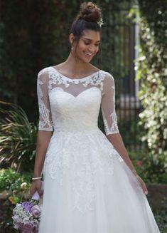 Short Lace Tea-Length Wedding Dress with 3/4 Length Sleeve Jacket A Line Bridal