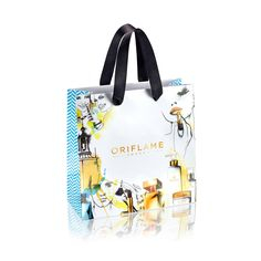 Paper gift bag with 50th anniversary illustration print and blue and white chevron print on the sides. With soft black ribbon handle to carry. Price £2.95