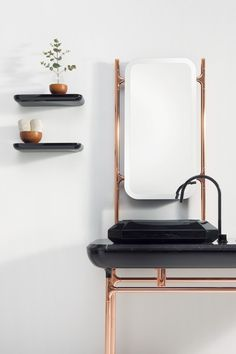 Home Decorating DIY Projects : Copper decoration -Read More – Art Deco Bathroom, Bathroom Interior, Bathroom Furniture, Modern Bathroom, Bathroom Ideas, Modern Sink, Master Bathroom, Design Bathroom, Bathroom Vanities