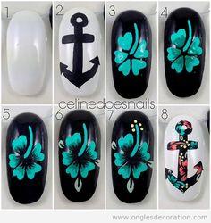Comment dessiner une fleur et une ancre sur les ongles | Décoration d'Ongles | Tout sur le Nail Art, la decóration dóngles et kes dessin sur ongles