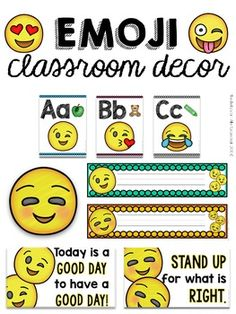 Emoji classroom decor! Banners, alphabet, name plates, bulletin board decor, inspirational posters. By Miss Behavior Classroom Decor Themes, Classroom Setting, Classroom Setup, Inspirational Posters, Motivational Quotes, Social Work Interventions, Emoji Decorations, Emoji Pictures, Teaching Career