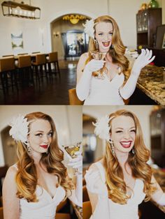 1940's Inspired Bridal Hair and Makeup Shoot by Hair Comes the Bride.  ~ Photography by Sloan Photographers ~ Flowers by My Floral Bliss ~ Shot on Location at the St. Regis Monarch Beach Resort ~