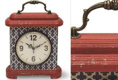 Red And Blue Pattern Decorative Table Clock - From Antiquefarmhouse.com - http://www.antiquefarmhouse.com/current-sale-events/cheerful-decor/red-and-blue-pattern-decorative-table-clock.html