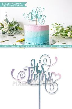 This cake topper with curls and swirls is perfect for any baby announcement, gender reveal or baby shower! TWO files included, one with a stick and one without. #ad Twins Cake, Baby Svg, New Mums, Everything Baby, Gender Reveal, Swirls, Announcement, Place Card Holders, Newborn Babies