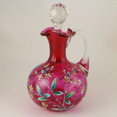 Beautiful Hand Enameled Cranberry Coin Dot Cruet with a Faceted Stopper. ***ALSO SEE Vintage Jewelry at: http://MyClassicJewelry.com/shop