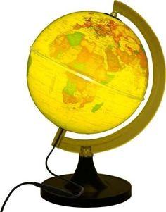Globo Terrestre Politico 21cm Aquarela C/ Luz LED Bivolt Amarelo