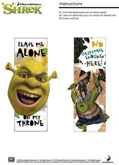 Free Shrek Bookmarks - Leave Me Alone!