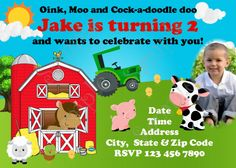 Farm Party Invitation, Farm Invitation, Farm Birthday Party Supplies