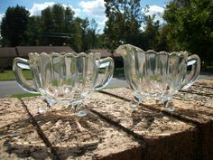 Vintage Glass, Scalloped, Footed Sugar Bowl and Creamer Set.