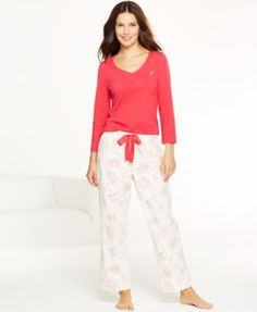 Nautica Top and Flannel Pajama Pants Set Women - Bras 09174635c