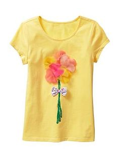 Flower-embellished short-sleeve T | Gap