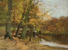 Cattle watering in an autumn landscape, Charles Paul Gruppe. American Tonalist Painter, born in Canada (1860 - 1940)