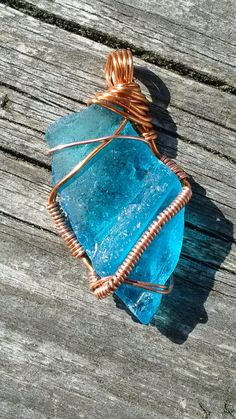 Turquoise Pendant, Sea Glass Jewelry, Turquoise Jewelry, Sea Glass Pendant, Copper Wire Jewelry, Wire Wrapped Jewelry, Turquoise Jewellery