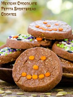 Mexican Chocolate Pepita Shortbread Cookies for Halloween