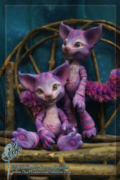 Grin the Cheshire Cat ball joint doll BJD by TheMushroomPeddler. $295.00, via Etsy.