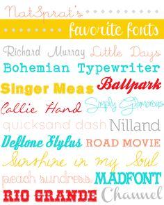 NatSprat's {Favorite} Free Fonts  ~~ {16 Free fonts w/ easy download links}