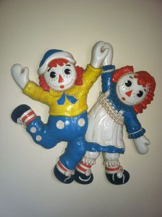 Vintage 1977 RAGGEDY ANN and ANDY wall hanging plaque by pdee5069, $9.89