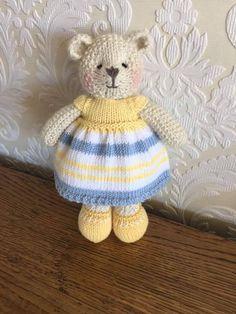 Items similar to Hand Knitted Dress for Teddy Bear on Etsy Knitted Stuffed Animals, Knitted Bunnies, Knitted Teddy Bear, Knitted Animals, Knitted Dolls, Crochet Rabbit, Crochet Mouse, Crochet Bear, Knitting Bear